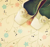 Top view of vintage fashion shoes. image is retro filtered. Royalty Free Stock Image
