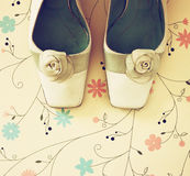 Top view of vintage fashion shoes. image is retro filtered Royalty Free Stock Image