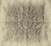 Top view of vintage hand made beautiful lace fabric. black and white syle photo Royalty Free Stock Photography