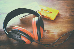 Top view of vintage headphones and cassettes Royalty Free Stock Photo