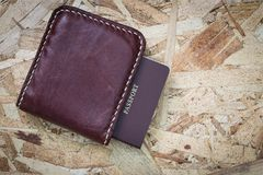 Top view vintage leather wallet and passport Royalty Free Stock Photography