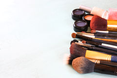 Top view of Vintage Make Up set. filtered image. Stock Photo
