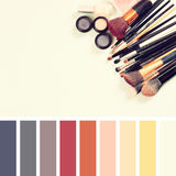Top view of Vintage Make Up set. vintage filter with palette color swatches Royalty Free Stock Photo