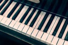 Vintage piano keyboard. Top view of vintage piano keyboard Royalty Free Stock Photo