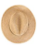 Top of view of vintage summer straw hat isolated Royalty Free Stock Images