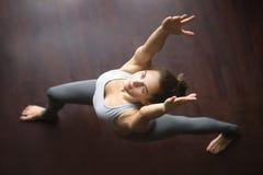 Top view of virabhadrasana 1 yoga Pose Stock Image