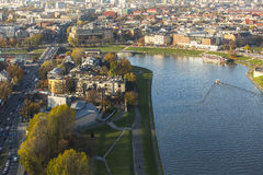 Top view of Vistula river in Cracow Poland. Royalty Free Stock Photography