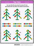 Top view visual puzzle with fir trees and christmas ornaments Royalty Free Stock Images