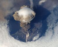 Top View of Volcano Erupting during Daytime Stock Photos