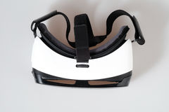 Top view VR virtual reality glasses  on white background. Top view VR virtual reality glasses half turned  on white background Stock Photos