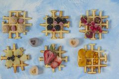 Waffles. Top view of waffles decorated with berries Stock Photography