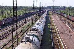 Top view of wagons with cisterns and railroad tracks Stock Photo