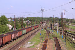 Top view of wagons with coal and railroad tracks Stock Image