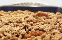 A top view of a warm hot dish of apple crisp Stock Photos