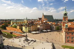 Top view of Warsaw Castle Square in the old town Stock Image