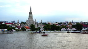 Top view Was Arun and traffic on Chao Phraya river Bangkok,Thailand ; Quick Motion. Clip of Top view Was Arun and traffic on Chao Phraya river Bangkok,Thailand stock video