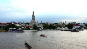 Top view Was Arun and traffic on Chao Phraya river Bangkok,Thailand;Quick Motion. Clip of Top view Was Arun and traffic on Chao Phraya river Bangkok,Thailand stock video footage