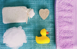 Top view of washing sponge, soap and ruber duck Royalty Free Stock Images