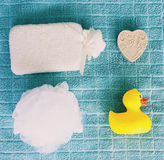 Top view of washing sponge, soap and ruber duck Royalty Free Stock Photos