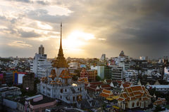 Top View of Wat Trimit in China town area in bangkok, Thailand Stock Image