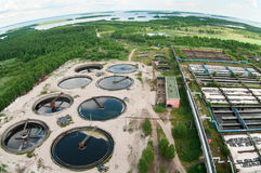 Top view of water recycling sewage station Stock Photos