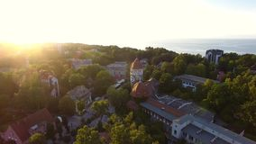 Water Tower in sunset, top view stock video