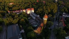 Water Tower in sunset, top view stock footage