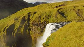 Top view of waterfall on Skoga river in Iceland, top of Skogafoss, view in sunny day stock video footage
