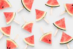 Top view watermelon ice cream isolated on white background. Clip Stock Photos
