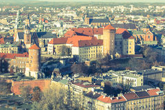 Top view of Wawel Royal Castle in Krakow, Poland. Royalty Free Stock Photos