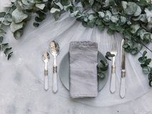 Top view wedding rustic table. With eucalyptus Royalty Free Stock Images