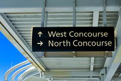 Top view of West and North Concourse sign in Orlando Convention Center at International Drive area . Orlando, Florida. January 12, 2019. Top view of West and stock photos