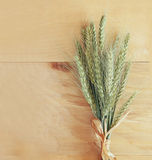 Top view of whet crop on vintage white table cloth. vintage filtered image Stock Photos