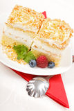 Top view of whipped cream cake garnished with berries Stock Photography