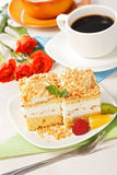 Top view of whipped cream cake garnished with fruit pieces Royalty Free Stock Images