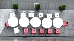 Top view of white circle table and chairs at outdoor. The top view of white circle table and chairs at outdoor Stock Photography