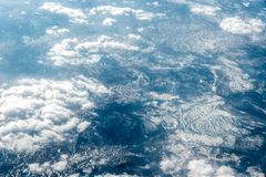 Top view of white clouds above the city royalty free stock image