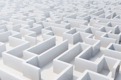 Top view of white labyrinth. 3d rendering.  Royalty Free Stock Photography