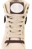 Top view of white laces sneakers. Stock Photography