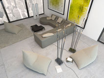 Top view of white living room with green decoration Royalty Free Stock Images