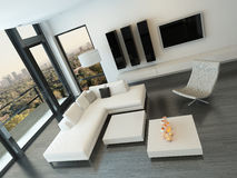 Top view of white living room interior Royalty Free Stock Image