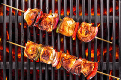 Top view of white meat skewers Royalty Free Stock Photography