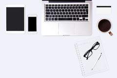 Top view of  white office desk table. Stock Images