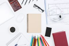 Blueprint and stationery concept Royalty Free Stock Photography
