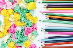 White desktop with colorful supplies. Top view of white office desktop with colorful supplies. Art, school and design concept Stock Photo