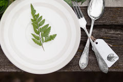 Top view of white plate with fern. Top view of white plate with green leave and silver spoon and fork with blank label on wooden table. Wedding decor concept Royalty Free Stock Photos