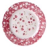 Top view white plate with printed red flowers Royalty Free Stock Images