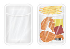 Top view of White polystyrene packaging mockup with Chicken fried and french fries. A top view of White polystyrene packaging mockup with Chicken fried and Royalty Free Stock Images