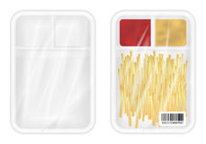 Top view of White polystyrene packaging mockup with french fries and ketchup inside. A top view of White polystyrene packaging mockup with french fries and Stock Photo