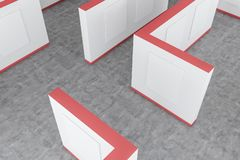 Top view of white and red poster gallery. Top view of modern art gallery with white and red walls, concrete floor and vertical mock up posters. Concept of vector illustration